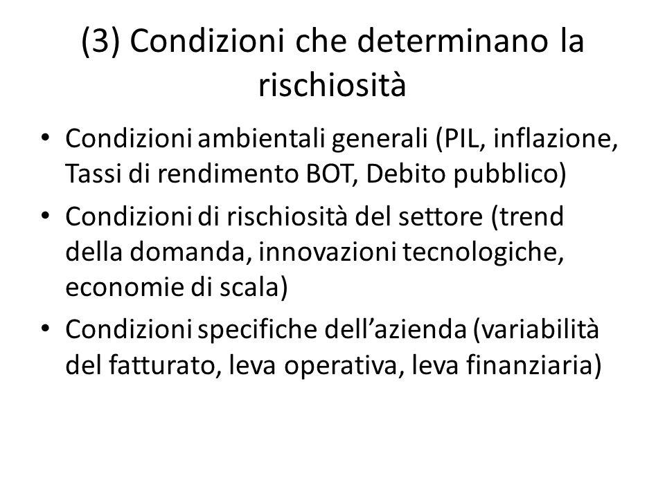 (3) Condizioni che determinano la rischiosità Condizioni ambientali generali (PIL, inflazione, Tassi di rendimento BOT, Debito pubblico) Condizioni di
