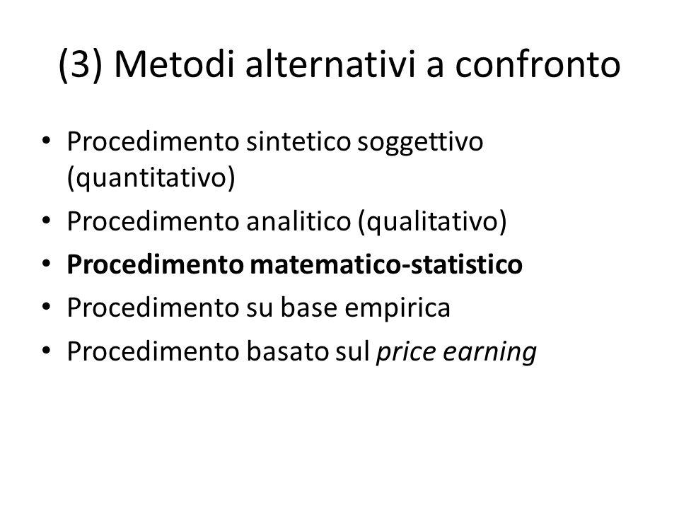 (3) Metodi alternativi a confronto Procedimento sintetico soggettivo (quantitativo) Procedimento analitico (qualitativo) Procedimento matematico-stati