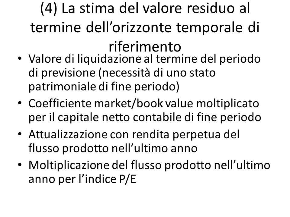 (4) La stima del valore residuo al termine dellorizzonte temporale di riferimento Valore di liquidazione al termine del periodo di previsione (necessi