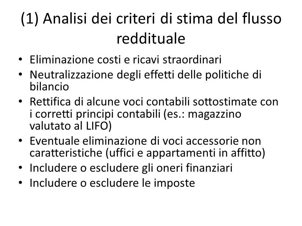(1) Analisi dei criteri di stima del flusso reddituale Eliminazione costi e ricavi straordinari Neutralizzazione degli effetti delle politiche di bila