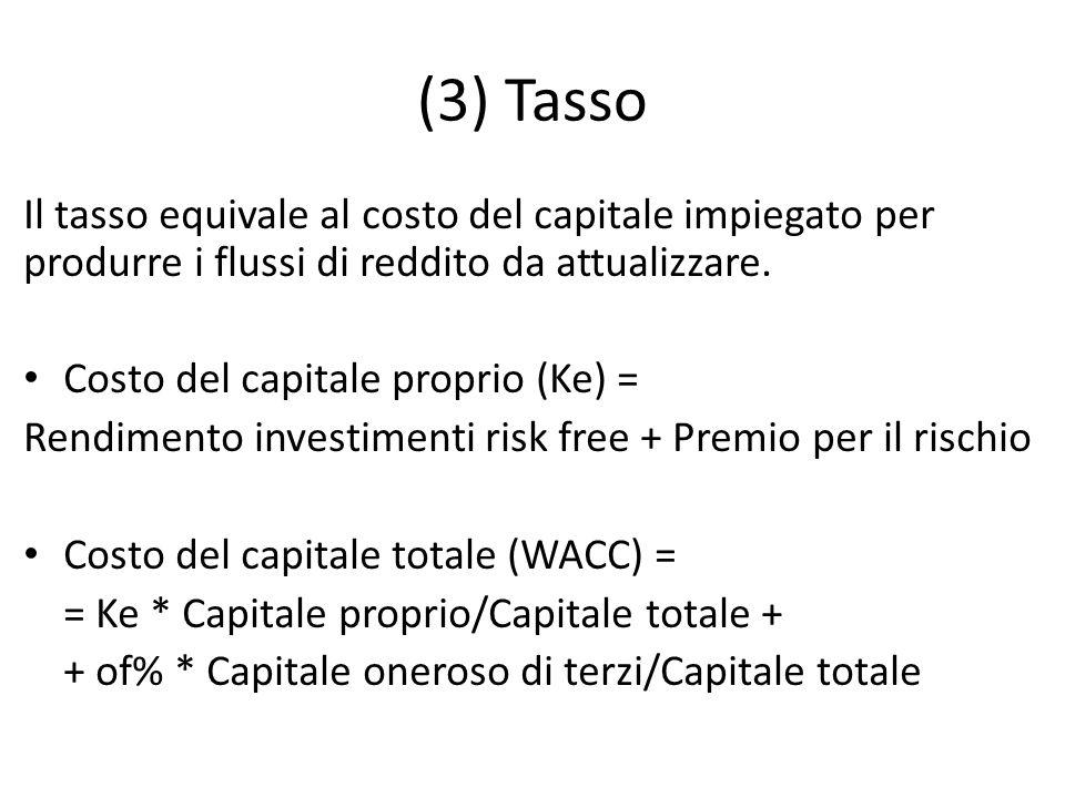 (3) Tasso Il tasso equivale al costo del capitale impiegato per produrre i flussi di reddito da attualizzare. Costo del capitale proprio (Ke) = Rendim