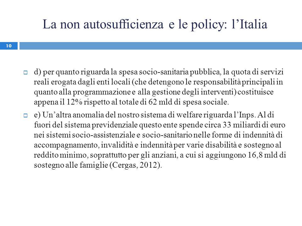La non autosufficienza e le policy: lItalia d) per quanto riguarda la spesa socio-sanitaria pubblica, la quota di servizi reali erogata dagli enti loc