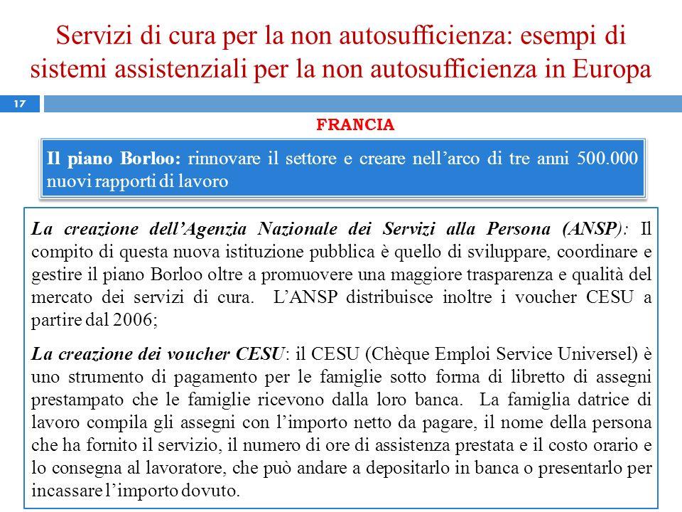 Servizi di cura per la non autosufficienza: esempi di sistemi assistenziali per la non autosufficienza in Europa 17 FRANCIA Il piano Borloo: rinnovare