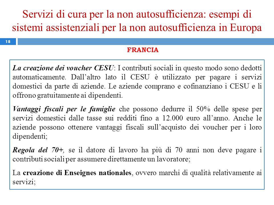 Servizi di cura per la non autosufficienza: esempi di sistemi assistenziali per la non autosufficienza in Europa 18 FRANCIA La creazione dei voucher C