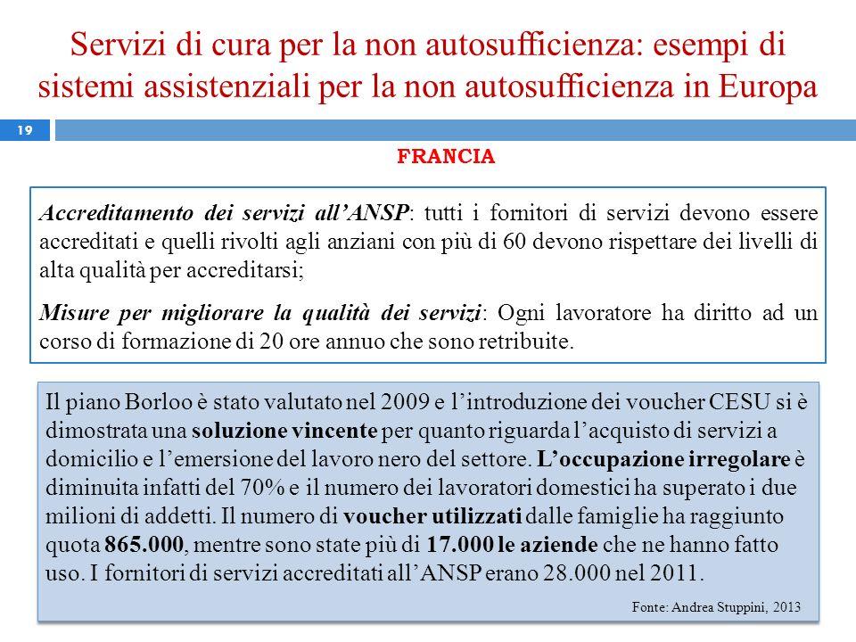 Servizi di cura per la non autosufficienza: esempi di sistemi assistenziali per la non autosufficienza in Europa 19 FRANCIA Accreditamento dei servizi