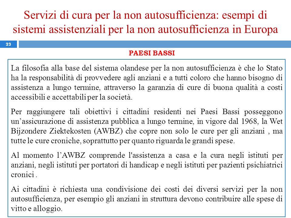 Servizi di cura per la non autosufficienza: esempi di sistemi assistenziali per la non autosufficienza in Europa 23 PAESI BASSI La filosofia alla base