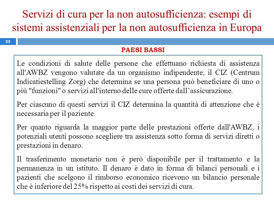 Servizi di cura per la non autosufficienza: esempi di sistemi assistenziali per la non autosufficienza in Europa 25 PAESI BASSI Le condizioni di salut