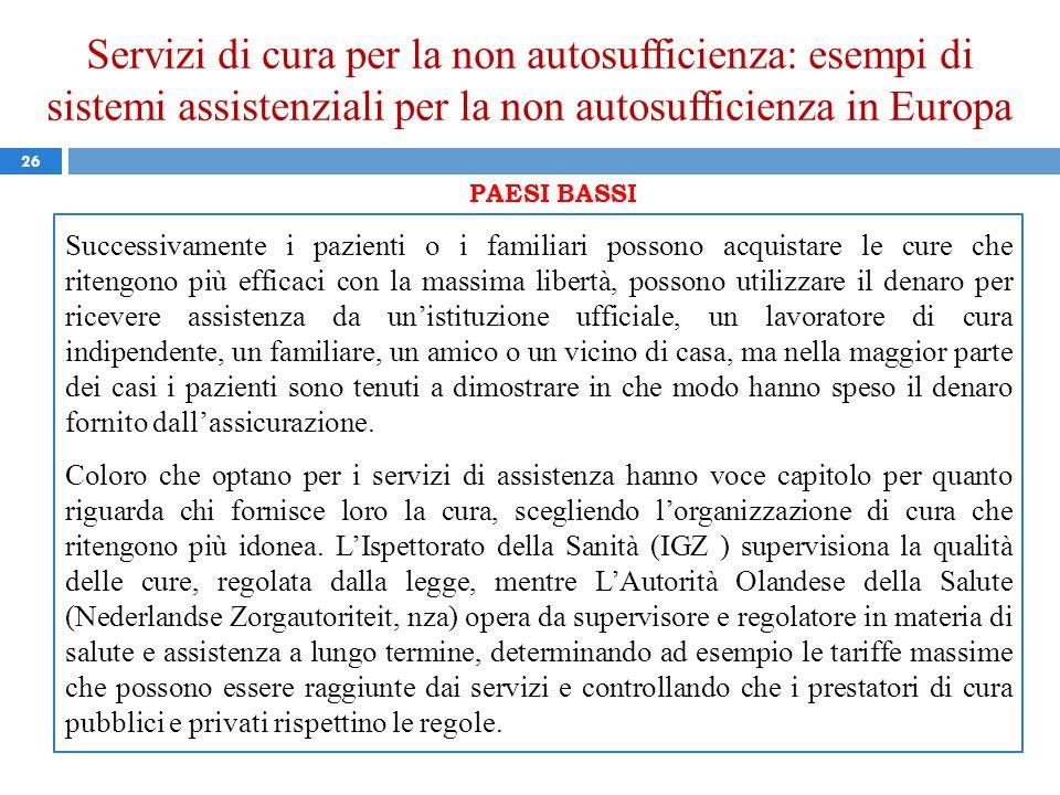 Servizi di cura per la non autosufficienza: esempi di sistemi assistenziali per la non autosufficienza in Europa 26 PAESI BASSI Successivamente i pazi