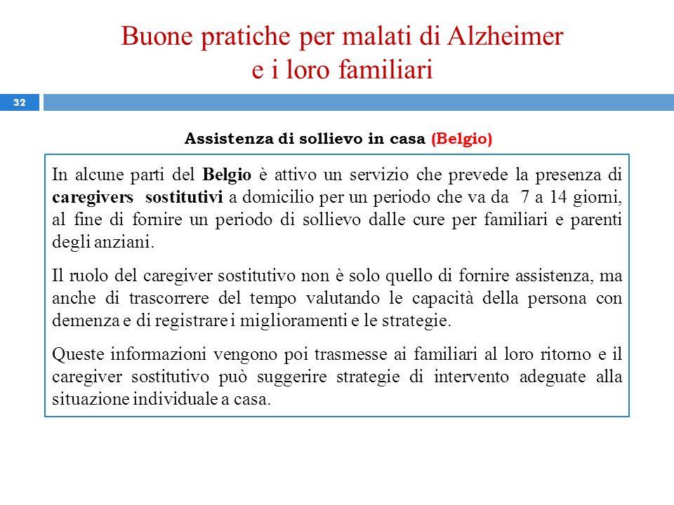 Buone pratiche per malati di Alzheimer e i loro familiari 32 Assistenza di sollievo in casa (Belgio) In alcune parti del Belgio è attivo un servizio c