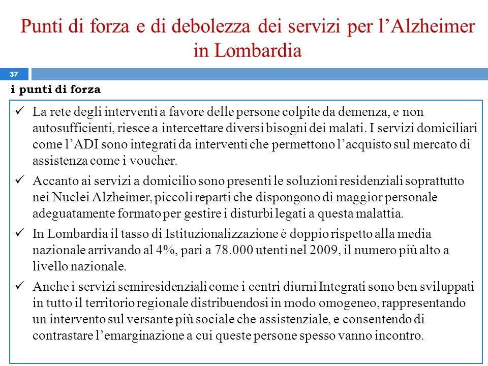 Punti di forza e di debolezza dei servizi per lAlzheimer in Lombardia 37 La rete degli interventi a favore delle persone colpite da demenza, e non aut