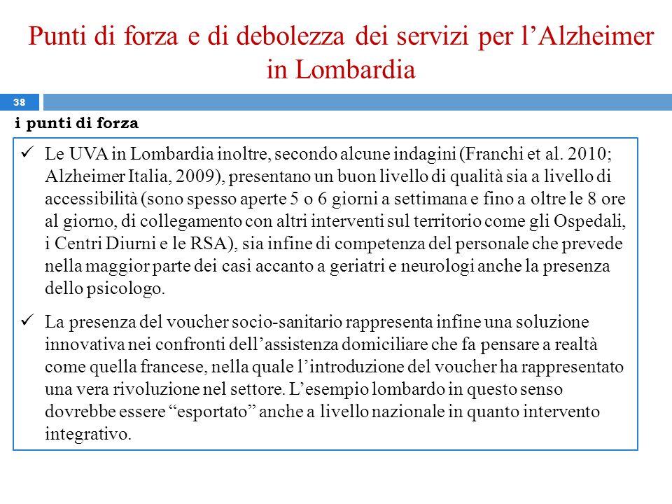 Punti di forza e di debolezza dei servizi per lAlzheimer in Lombardia 38 Le UVA in Lombardia inoltre, secondo alcune indagini (Franchi et al. 2010; Al