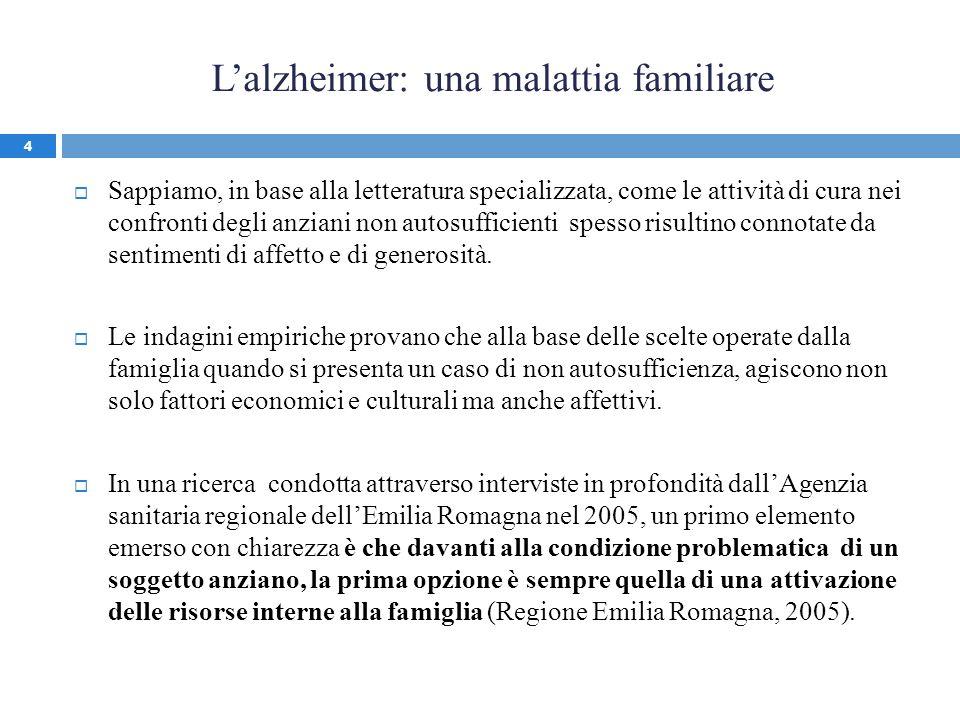 Lalzheimer: una malattia familiare Sappiamo, in base alla letteratura specializzata, come le attività di cura nei confronti degli anziani non autosuff