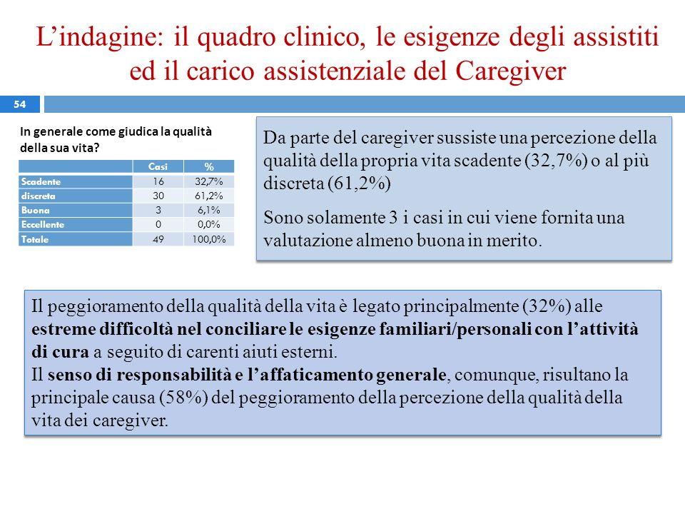 54 In generale come giudica la qualità della sua vita? Da parte del caregiver sussiste una percezione della qualità della propria vita scadente (32,7%