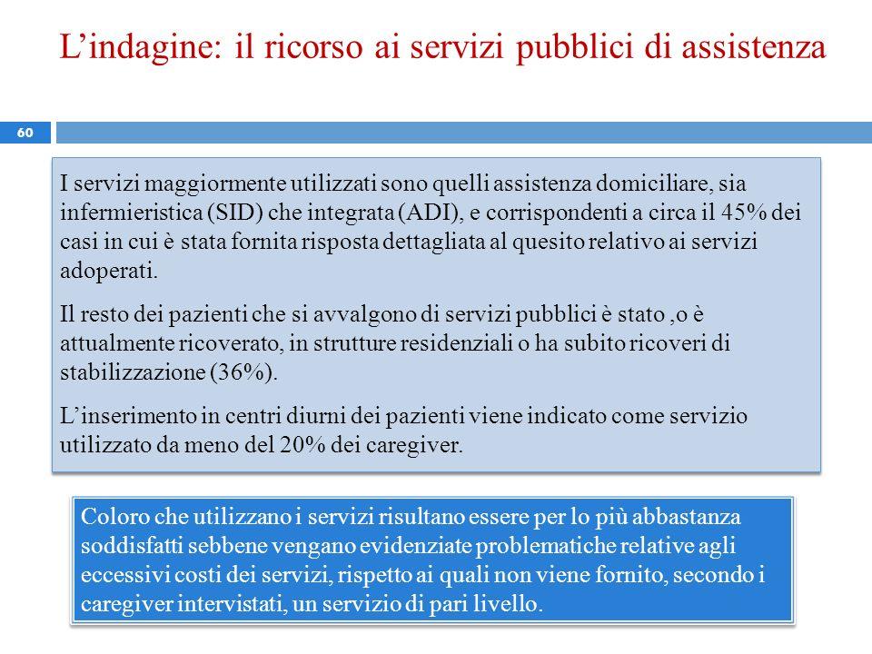 60 I servizi maggiormente utilizzati sono quelli assistenza domiciliare, sia infermieristica (SID) che integrata (ADI), e corrispondenti a circa il 45