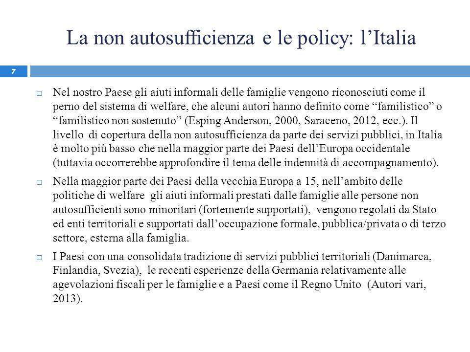 La non autosufficienza e le policy: lItalia Nel nostro Paese gli aiuti informali delle famiglie vengono riconosciuti come il perno del sistema di welf