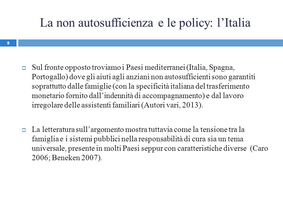 La non autosufficienza e le policy: lItalia Sul fronte opposto troviamo i Paesi mediterranei (Italia, Spagna, Portogallo) dove gli aiuti agli anziani