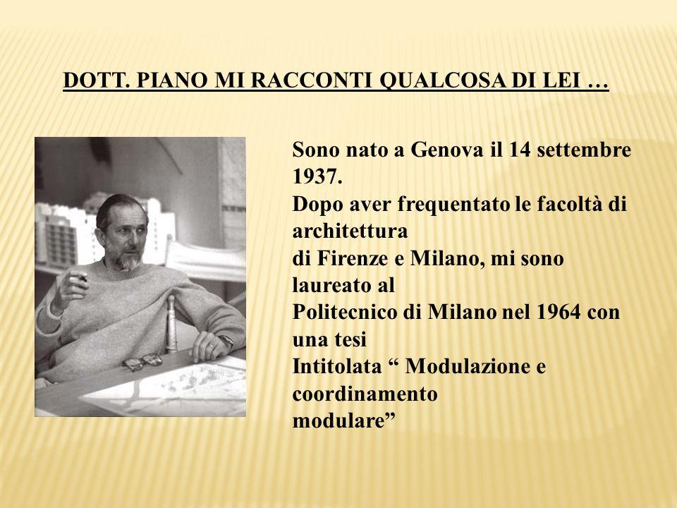 DOTT. PIANO MI RACCONTI QUALCOSA DI LEI … Sono nato a Genova il 14 settembre 1937. Dopo aver frequentato le facoltà di architettura di Firenze e Milan