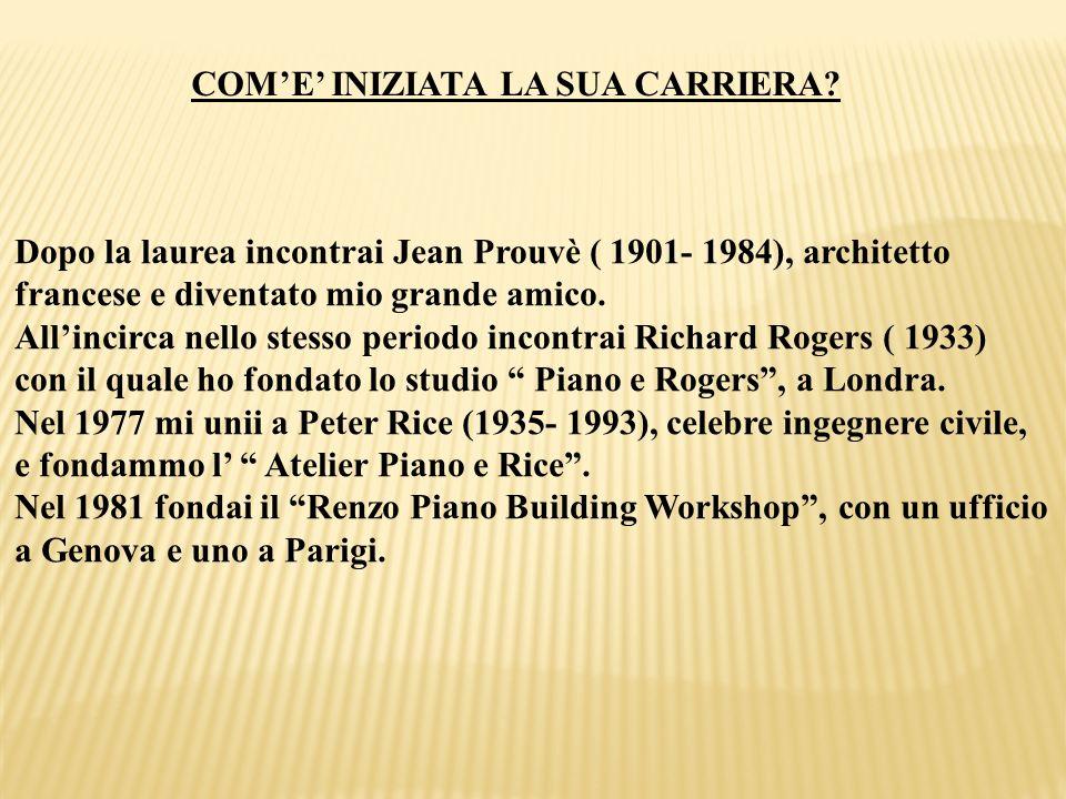 COME INIZIATA LA SUA CARRIERA? Dopo la laurea incontrai Jean Prouvè ( 1901- 1984), architetto francese e diventato mio grande amico. Allincirca nello
