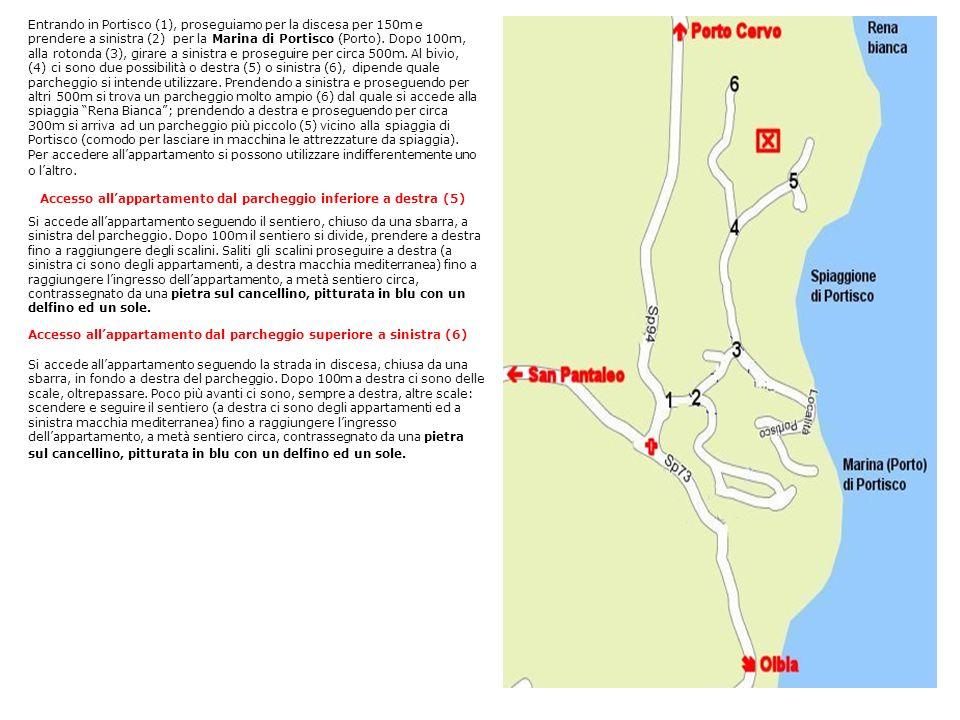 Entrando in Portisco (1), proseguiamo per la discesa per 150m e prendere a sinistra (2) per la Marina di Portisco (Porto). Dopo 100m, alla rotonda (3)