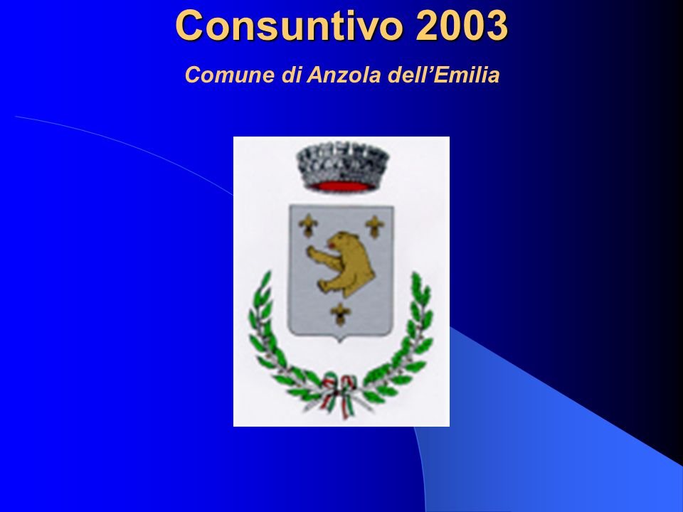 Consuntivo 2003 Comune di Anzola dellEmilia