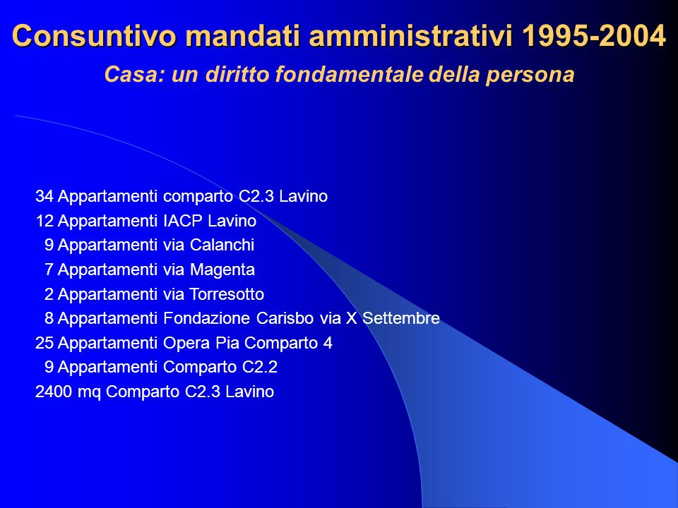 Consuntivo mandati amministrativi 1995-2004 Casa: un diritto fondamentale della persona 34 Appartamenti comparto C2.3 Lavino 12 Appartamenti IACP Lavi