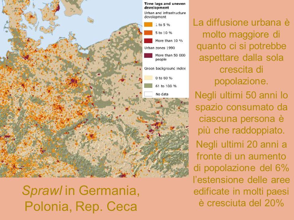 Il fenomeno della crescita urbana europea non è omogeneo Crescita annuale di alcune aree urbanizzate, seconda metà 900
