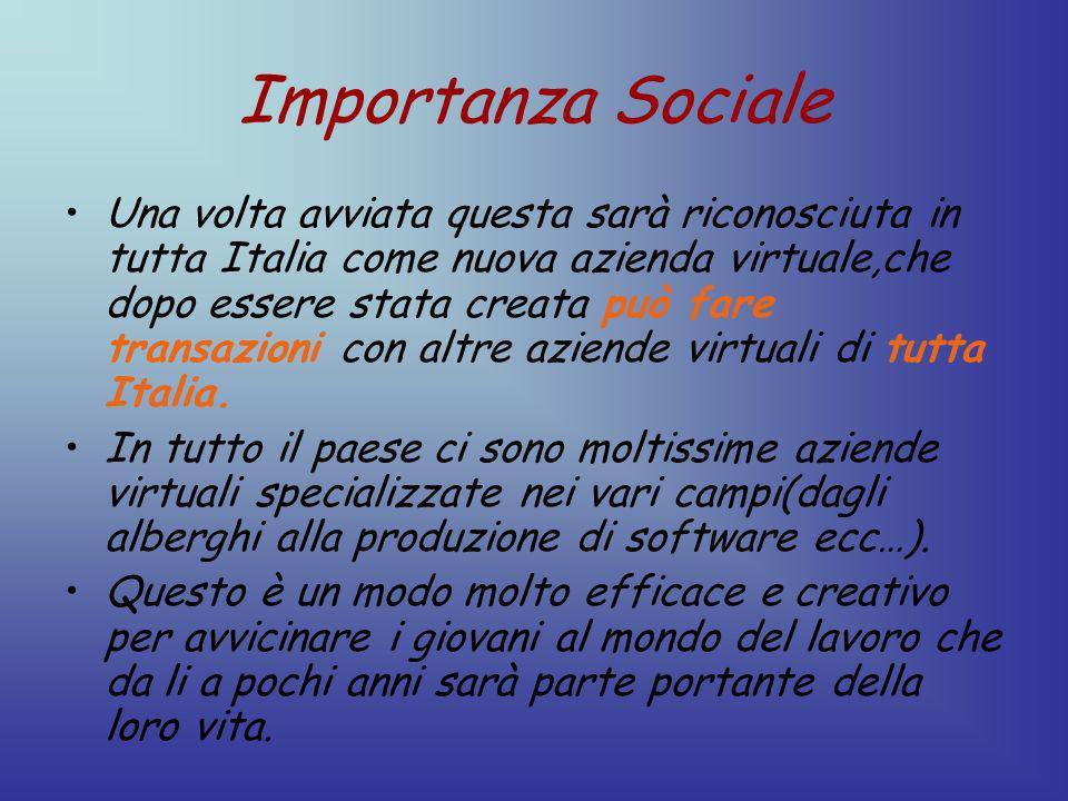 Importanza Sociale Una volta avviata questa sarà riconosciuta in tutta Italia come nuova azienda virtuale,che dopo essere stata creata può fare transazioni con altre aziende virtuali di tutta Italia.
