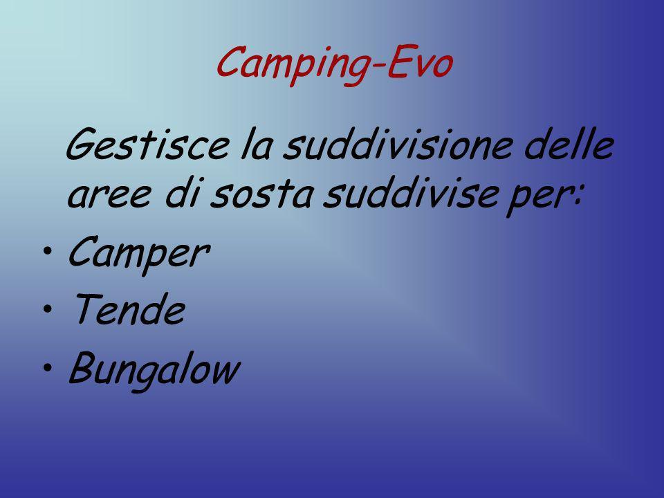 Camping-Evo Gestisce la suddivisione delle aree di sosta suddivise per: Camper Tende Bungalow