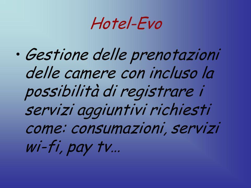 Hotel-Evo Gestione delle prenotazioni delle camere con incluso la possibilità di registrare i servizi aggiuntivi richiesti come: consumazioni, servizi wi-fi, pay tv…