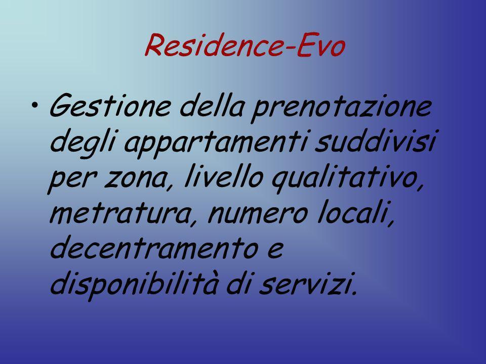 Residence-Evo Gestione della prenotazione degli appartamenti suddivisi per zona, livello qualitativo, metratura, numero locali, decentramento e disponibilità di servizi.