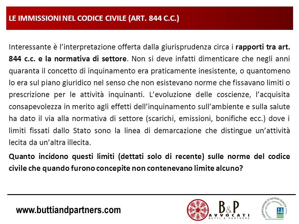 www.buttiandpartners.com LE IMMISSIONI NEL CODICE CIVILE (ART. 844 C.C.) Interessante è linterpretazione offerta dalla giurisprudenza circa i rapporti