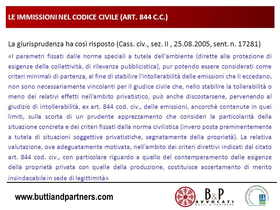 www.buttiandpartners.com LE IMMISSIONI NEL CODICE CIVILE (ART. 844 C.C.) La giurisprudenza ha così risposto (Cass. civ., sez. II, 25.08.2005, sent. n.