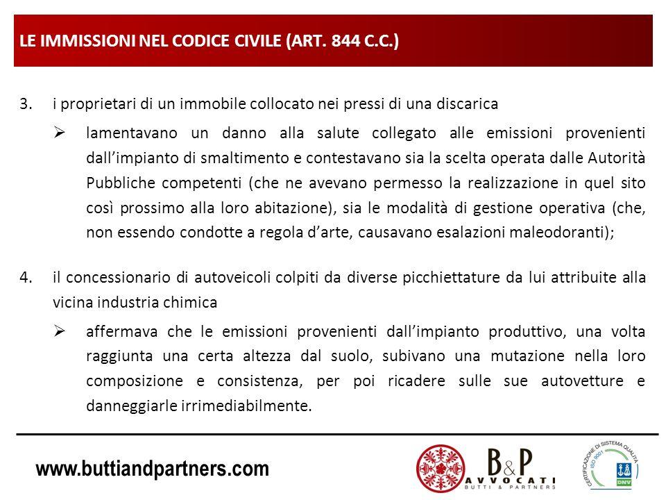 www.buttiandpartners.com LE IMMISSIONI NEL CODICE CIVILE (ART. 844 C.C.) 3.i proprietari di un immobile collocato nei pressi di una discarica lamentav