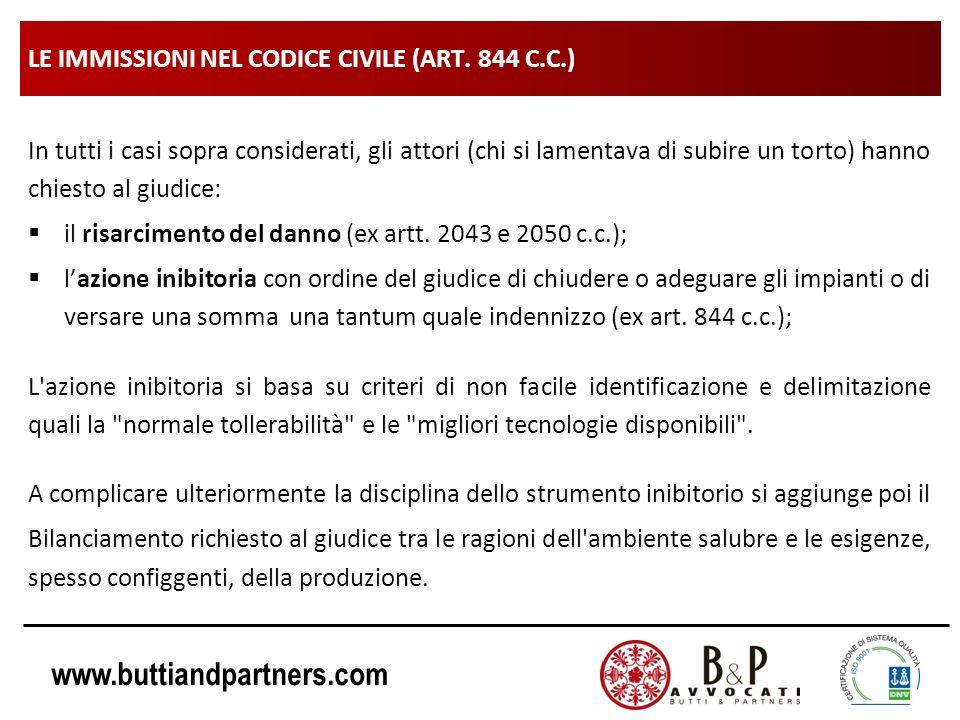 www.buttiandpartners.com LE IMMISSIONI NEL CODICE CIVILE (ART. 844 C.C.) In tutti i casi sopra considerati, gli attori (chi si lamentava di subire un