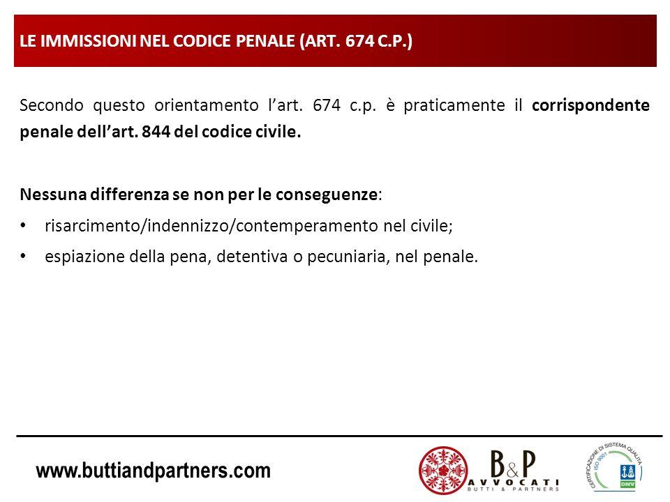www.buttiandpartners.com LE IMMISSIONI NEL CODICE PENALE (ART. 674 C.P.) Secondo questo orientamento lart. 674 c.p. è praticamente il corrispondente p