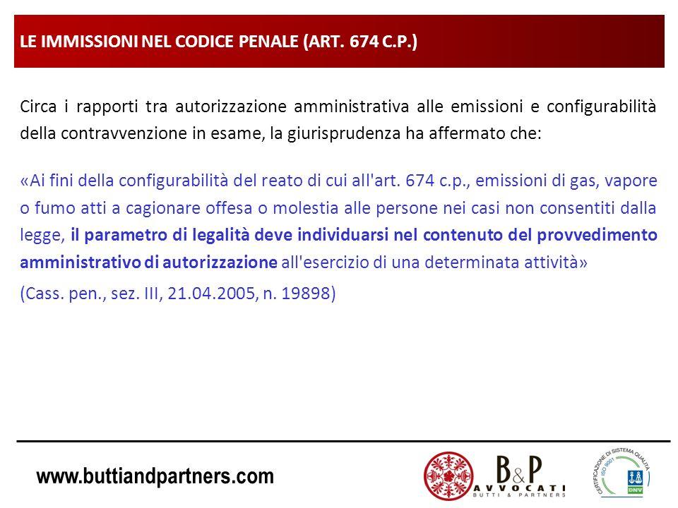 www.buttiandpartners.com LE IMMISSIONI NEL CODICE PENALE (ART. 674 C.P.) Circa i rapporti tra autorizzazione amministrativa alle emissioni e configura
