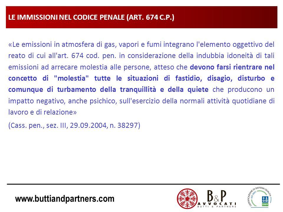 www.buttiandpartners.com LE IMMISSIONI NEL CODICE PENALE (ART. 674 C.P.) «Le emissioni in atmosfera di gas, vapori e fumi integrano l'elemento oggetti