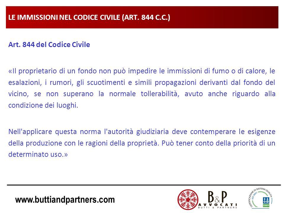 www.buttiandpartners.com LE IMMISSIONI NEL CODICE CIVILE (ART. 844 C.C.) Art. 844 del Codice Civile «Il proprietario di un fondo non può impedire le i
