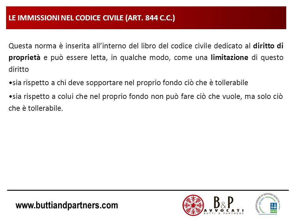 www.buttiandpartners.com LE IMMISSIONI NEL CODICE CIVILE (ART. 844 C.C.) Questa norma è inserita allinterno del libro del codice civile dedicato al di