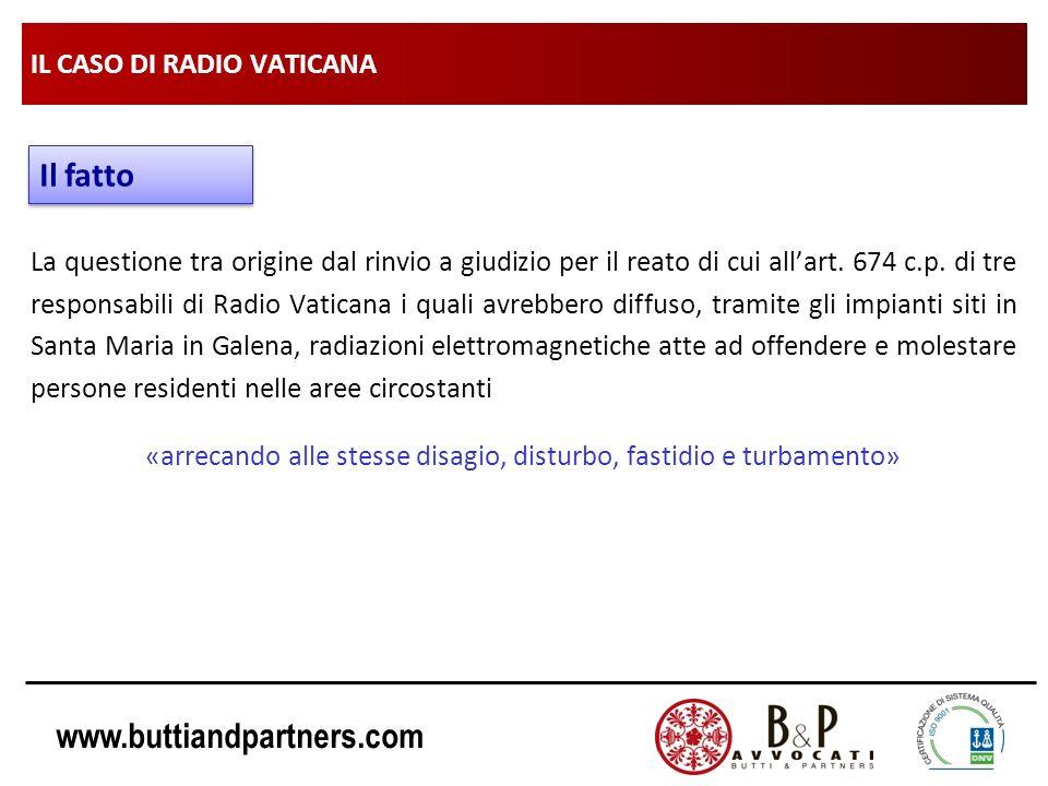 www.buttiandpartners.com IL CASO DI RADIO VATICANA La questione tra origine dal rinvio a giudizio per il reato di cui allart. 674 c.p. di tre responsa