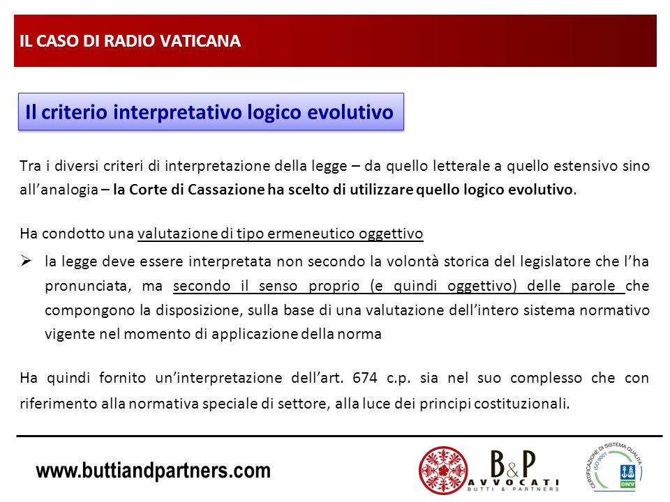 www.buttiandpartners.com IL CASO DI RADIO VATICANA Tra i diversi criteri di interpretazione della legge – da quello letterale a quello estensivo sino