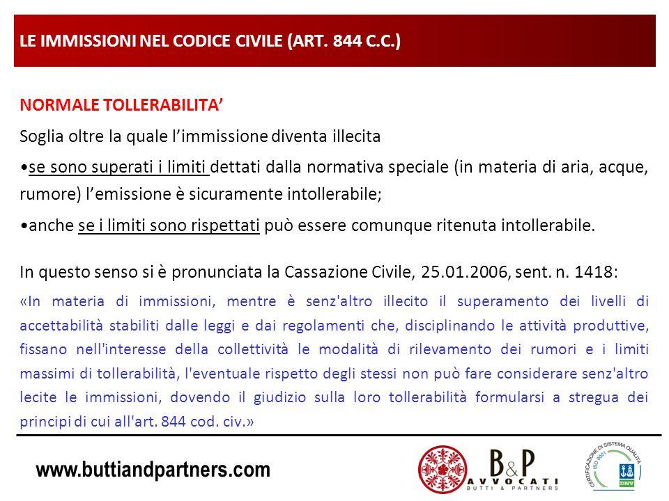 www.buttiandpartners.com LE IMMISSIONI NEL CODICE CIVILE (ART. 844 C.C.) NORMALE TOLLERABILITA Soglia oltre la quale limmissione diventa illecita se s