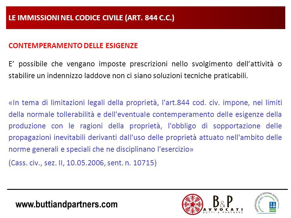 www.buttiandpartners.com LE IMMISSIONI NEL CODICE CIVILE (ART. 844 C.C.) CONTEMPERAMENTO DELLE ESIGENZE E possibile che vengano imposte prescrizioni n