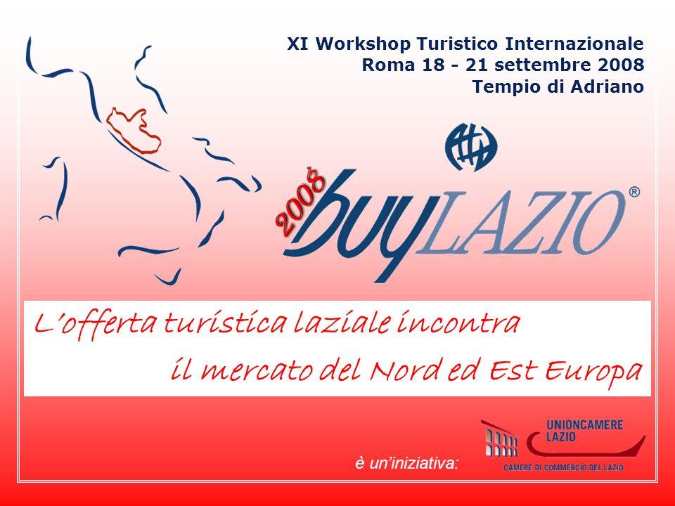 2008 Lofferta turistica laziale incontra il mercato del Nord ed Est Europa Roma 18 - 21 settembre 2008 XI Workshop Turistico Internazionale Tempio di Adriano è uniniziativa: