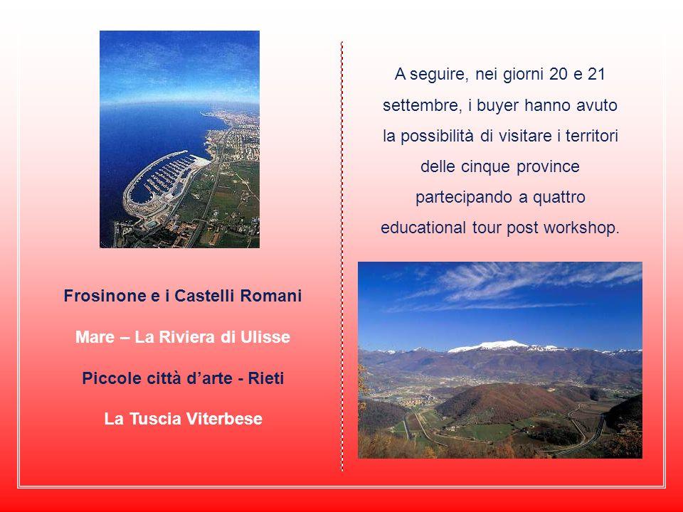 A seguire, nei giorni 20 e 21 settembre, i buyer hanno avuto la possibilità di visitare i territori delle cinque province partecipando a quattro educational tour post workshop.