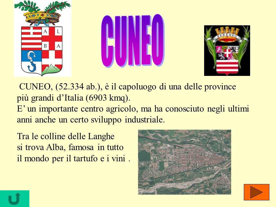 CUNEO, (52.334 ab.), è il capoluogo di una delle province più grandi dItalia (6903 kmq). E un importante centro agricolo, ma ha conosciuto negli ultim