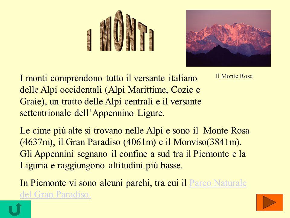 I monti comprendono tutto il versante italiano delle Alpi occidentali (Alpi Marittime, Cozie e Graie), un tratto delle Alpi centrali e il versante set