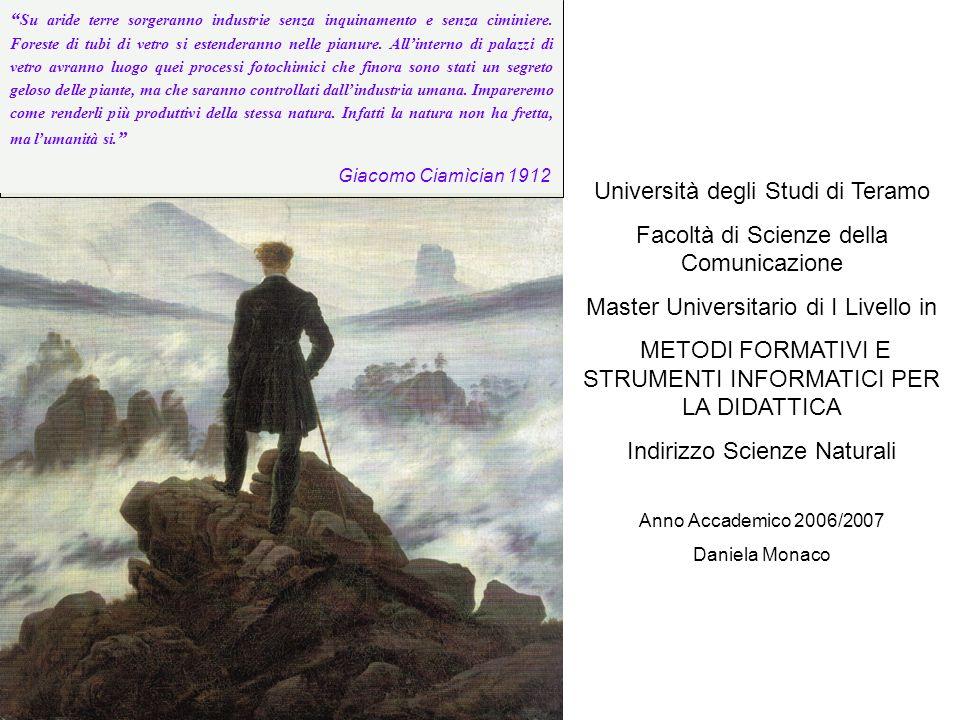 Università degli Studi di Teramo Facoltà di Scienze della Comunicazione Master Universitario di I Livello in METODI FORMATIVI E STRUMENTI INFORMATICI