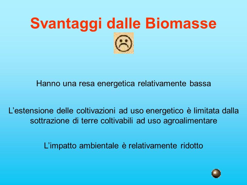 Svantaggi dalle Biomasse Hanno una resa energetica relativamente bassa Lestensione delle coltivazioni ad uso energetico è limitata dalla sottrazione d