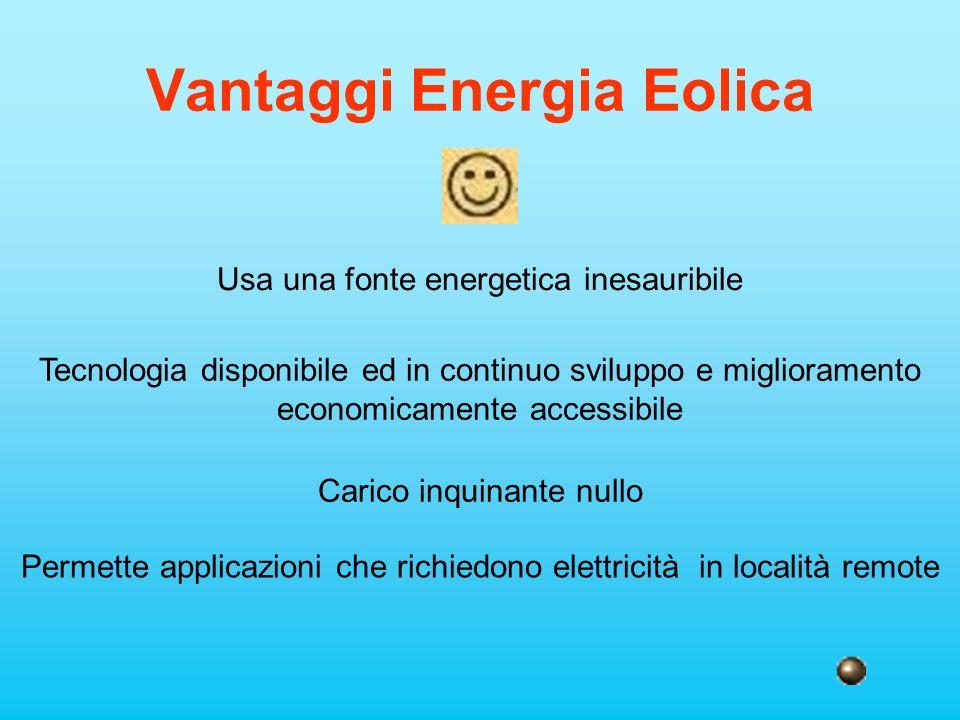 Vantaggi Energia Eolica Usa una fonte energetica inesauribile Tecnologia disponibile ed in continuo sviluppo e miglioramento economicamente accessibil